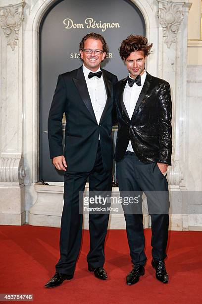 Jens Gardthausen and Andre Borchers attend the Dom Perignon Stage Dinner on August 18 2014 in Hamburg Germany