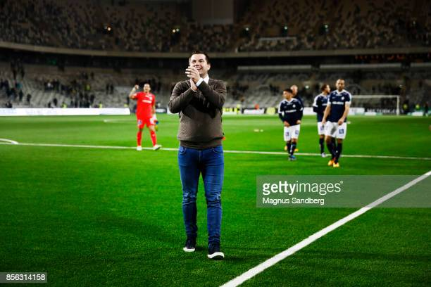 Jens Gustafsson head coach of IFK Norrkoping applauded the fans after the Allsvenskan match between Hammarby IF and IFK Norrkoping at Tele2 Arena on...