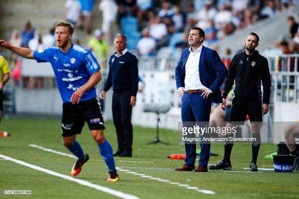 Jens Gustafsson Head coach of IFK Norrkoping during the Allsvenskan match between IFK Norrkoping and Halmstad BK at Ostgotaporten on May 27 2017 in...