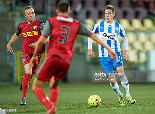 Jens Jakob Thomasen of OB Odense controls the ball during the Danish Alka Superliga match between FC Nordsjalland and OB Odense at Farum Park on...