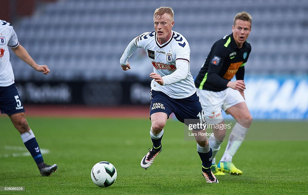 Jens Jonsson of AGF Aarhus in action during the Danish Alka Superliga match between AGF Aarhus and Viborg FF at Ceres Park on April 29, 2016 in Aarhus, Denmark.