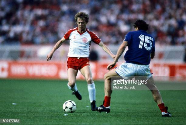 Jens Jorn Bertelsen of Denmark during the European Championship match between France and Denmark at Parc des Princes Paris France on 12th June 1984