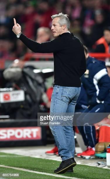 Jens Keller hed coach of Berlin gestures number 1 during the Second Bundesliga match between 1 FC Union Berlin and 1 FC Nuernberg at Stadion An der...