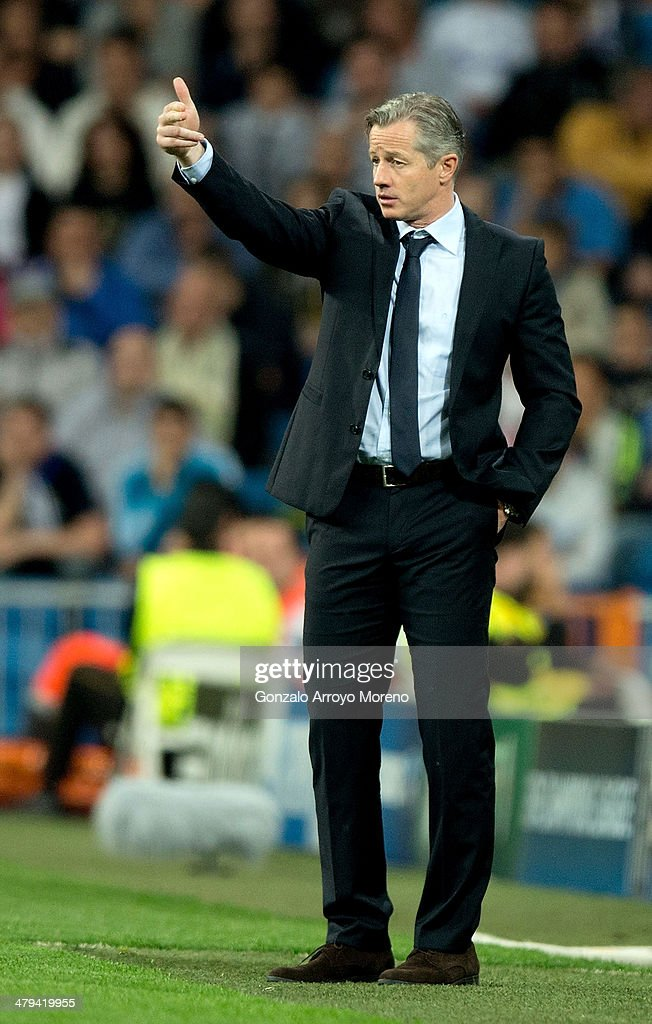 <a gi-track='captionPersonalityLinkClicked' href=/galleries/search?phrase=Jens+Keller&family=editorial&specificpeople=2382918 ng-click='$event.stopPropagation()'>Jens Keller</a> the Schalke manager reacts during the UEFA Champions League Round of 16, second leg match between Real Madrid and FC Schalke 04 at Estadio Santiago Bernabeu on March 18, 2014 in Madrid, Spain.