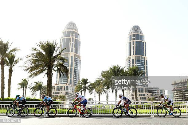 Jens Keukeleire of Belgium Oliver Naesen of Belgium Jacopo Guarnieri of Italy Adam Blythe of Great Britain and Michael Matthews of Australia ride...