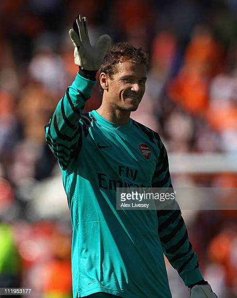 Jens Lehman of Arsenal waves towards his supporters after the Barclays Premier League match between Blackpool and Arsenal at Bloomfield Road on April...