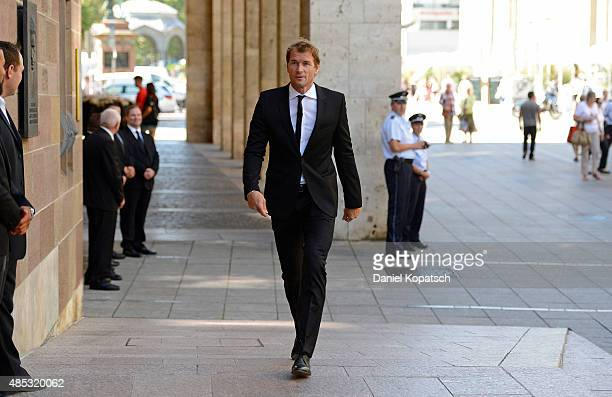 Jens Lehmann attends the Gerhard MayerVorfelder Memorial Service at St Eberhard chruch on August 27 2015 in Stuttgart Germany