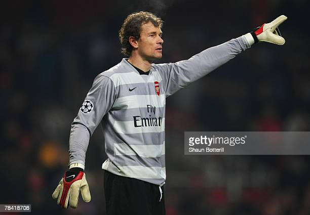 Jens Lehmann of Arsenal gestures during the UEFA Champions League Group H match between Arsenal and Steaua Bucharest at the Emirates Stadium on...