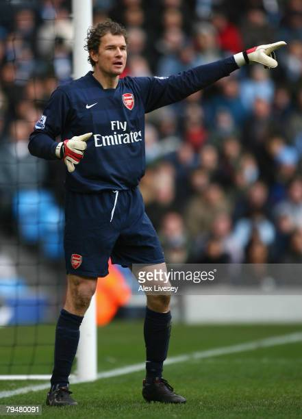 Jens Lehmann of Arsenal gestures to his team mates during the Barclays Premier League match between Manchester City and Arsenal at The City of...