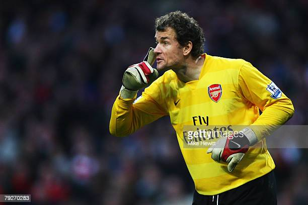 Jens Lehmann of Arsenal gives instructions to his team mates during the FA Cup Sponsored by eon Fourth Round match between Arsenal and Newcastle...