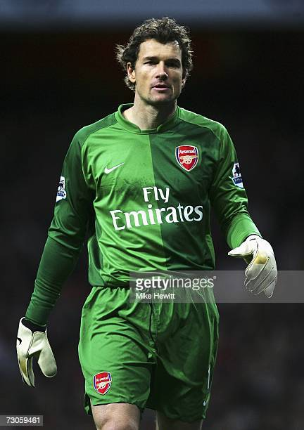 Jens Lehmann of Arsenal looks on during the Barclays Premiership match between Arsenal and Manchester United at the Emirates Stadium on January 21...