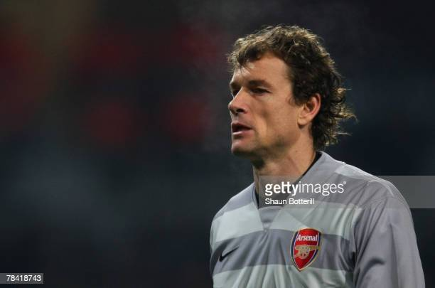 Jens Lehmann of Arsenal looks on during the UEFA Champions League Group H match between Arsenal and Steaua Bucharest at the Emirates Stadium on...