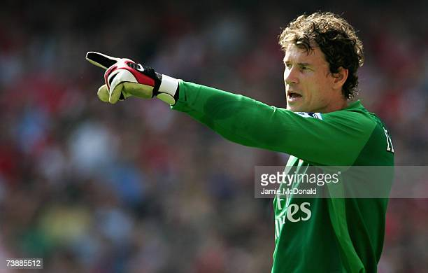 Jens Lehmann of Arsenal points during the Barclays Premiership match between Arsenal and Botlton Wanderers on April 14 2007 at the Emirates Stadium...