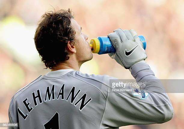 Jens Lehmann of Arsenal takes a drink during the Barclays Premiership match between Wigan Athletic and Arsenal at the JJB Stadium on 19 November 2005...