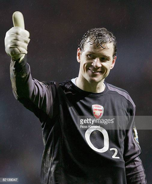 Jens Lehmann of Arsenal waves to the Arsenal fans after the Barclays Premiership match between Aston Villa and Arsenal at the Villa Park on February...