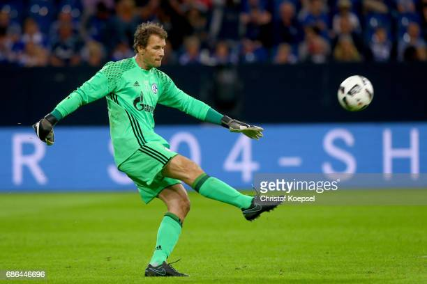 Jens Lehmann of Eurofighter and Friends icks the ball during the 20 years of Eurofighter match between Eurofighter and Friends and Euro All Stars at...