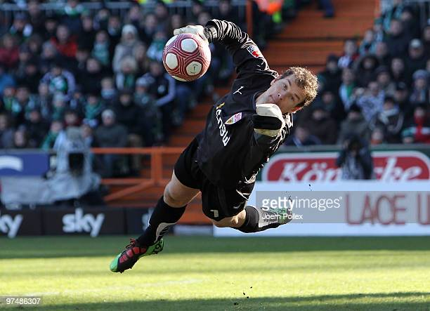 Jens Lehmann of Stuttgart is seen in action during the Bundesliga match between Werder Bremen and VfB Stuttgart at Weser Stadium on March 6 2010 in...