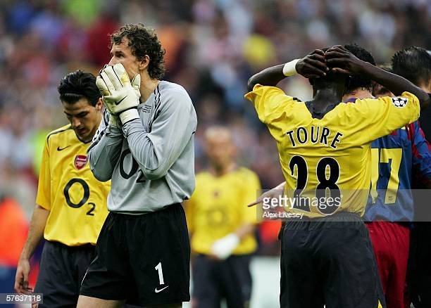 Jens Lehmann the Arsenal goalkeeper is distraught after he is sent off for fouling Samuel Eto'o of Barcelona during the UEFA Champions League Final...