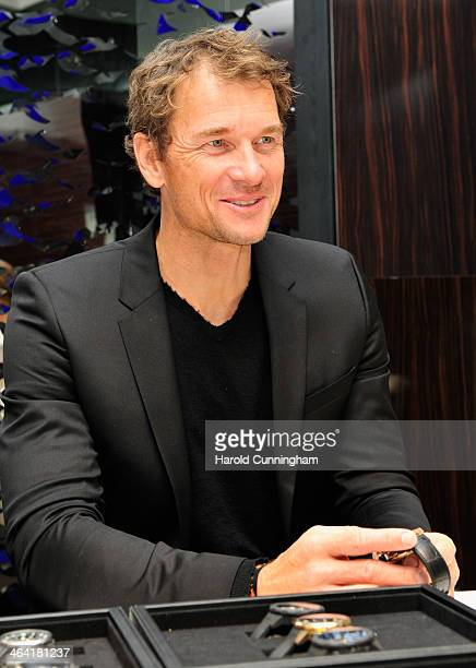 Jens Lehmann visits the IWC booth during the Salon International de la Haute Horlogerie 2014 at the Palexpo on January 21 2014 in Geneva Switzerland