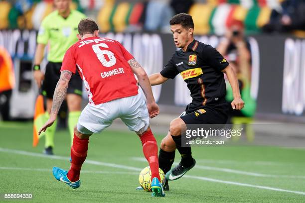 Jens Martin Gammelby of Silkeborg IF and Patrick da Silva of FC Nordsjalland compete for the ball during the Danish Alka Superliga match between...