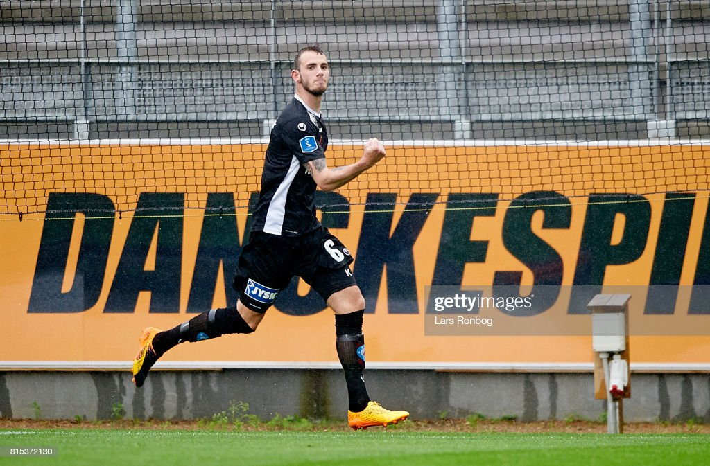 Jens Martin Gammelby of Silkeborg IF celebrates after scoring their first goal during the Danish Alka Superliga match between Lyngby BK and Silkeborg IF at Lyngby Stadion on July 16, 2017 in Lyngby, Denmark.