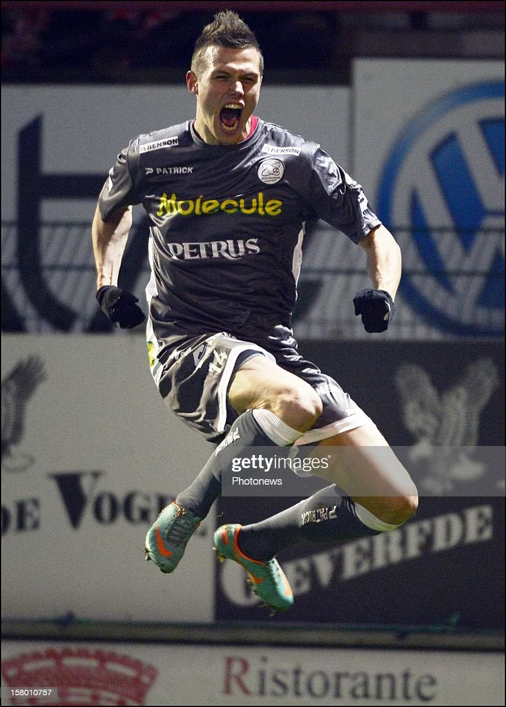 Jens Naessens of Zulte-Waregem celebrates during the Jupiler League match between Kv Kortrijk and Zulte Waregem on december 08, 2012 in Kortrijk, Belgium.