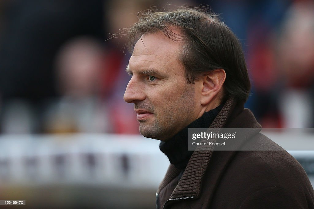 Jens Nowotny looks on prior to the Bundesliga match between Bayer 04 Leverkusen and Fortuna Duesseldorf at BayArena on November 4, 2012 in Leverkusen, Germany. (Photo by Christof Koepsel/Bongarts/Getty Images) .
