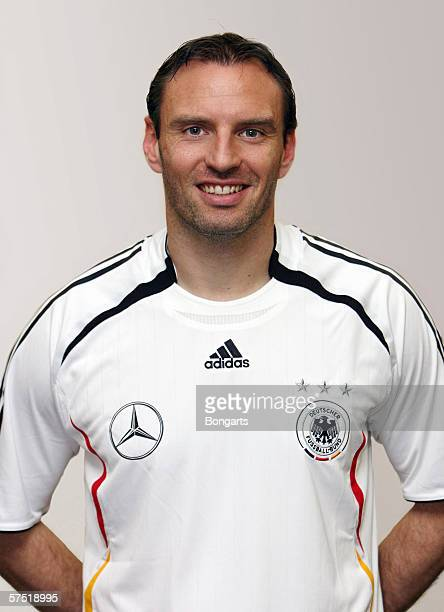 Jens Nowotny of Germany poses during a photo call of the German National Football Team on April 24 2006 in Dusseldorf Germany
