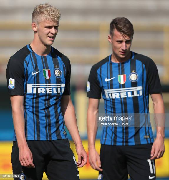 Jens Odgaard and Andrea Pinamonti of FC Internazionale Milano look on during the Serie A Primavera match between FC Internazionale U19 and Chievo...
