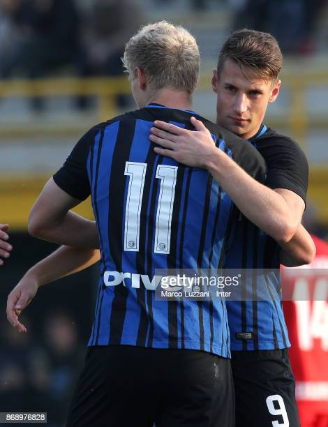 Jens Odgaard of FC Internazionale celebrates his goal with his teammate Andrea Pinamonti during the UEFA Youth League Domestic Champions Path match...