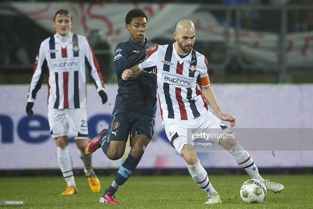 Jens Podevijn of Willem II, Jean-Paul Boetius of Feyenoord, Hans Mulder of Willem II during the Dutch Eredivisie match between Willem II and Feyenoord at the Koning Willem II Stadium on february 3, 2013 in Tilburg, The Netherlands