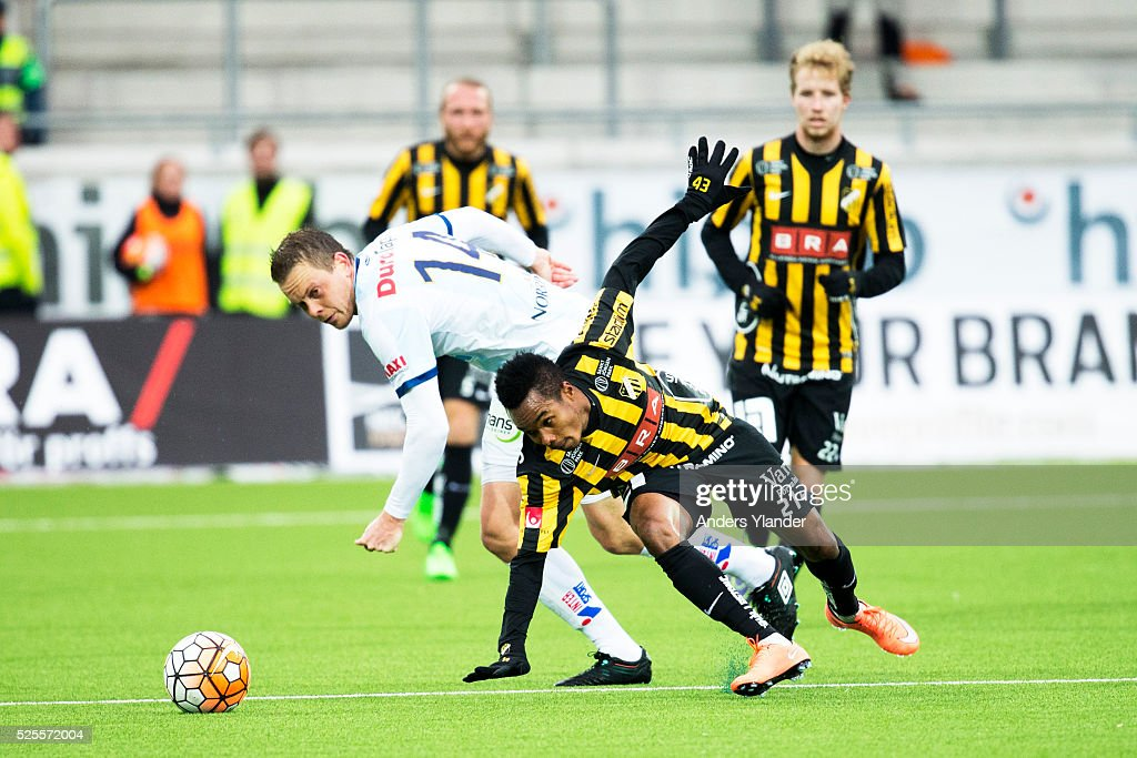 Jens Portin of Gefle IF and Nasiru Mohammed of BK Hacken competes for the ball during the Allsvenskan match between BK Hacken and Gefle IF at Bravida Arena on April 28, 2016 in Gothenburg, Sweden.
