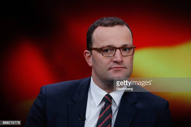 Jens Spahn Germany's deputy finance minister and Christian Democratic Union party member pauses during a Bloomberg Television interview in London UK...