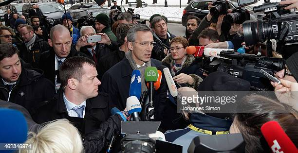 Jens Stoltenberg secretary general of NATO addresses the media upon his arrival at the 51st Munich Security Conference on February 6 2015 in Munich...