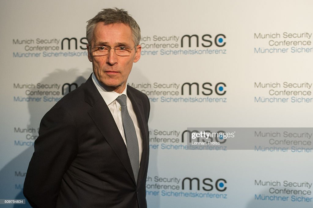 Jens Stoltenberg, Secretary General of NATO, arrives for a press statement at the 2016 Munich Security Conference at the Bayerischer Hof hotel on February 12, 2016 in Munich, Germany. The annual event brings together government representatives and security experts from across the globe and this year the conflict in Syria will be the main issue under discussion.