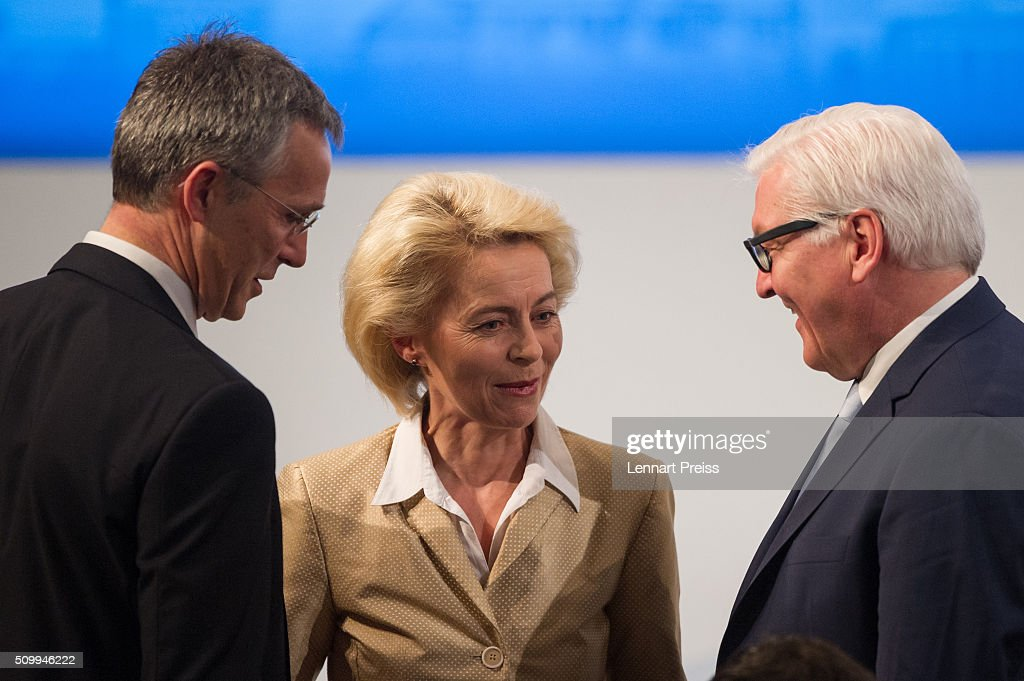<a gi-track='captionPersonalityLinkClicked' href=/galleries/search?phrase=Jens+Stoltenberg&family=editorial&specificpeople=558620 ng-click='$event.stopPropagation()'>Jens Stoltenberg</a>, Secretary General of NATO, German Defense Minister <a gi-track='captionPersonalityLinkClicked' href=/galleries/search?phrase=Ursula+von+der+Leyen&family=editorial&specificpeople=4249207 ng-click='$event.stopPropagation()'>Ursula von der Leyen</a> and German Minister of Foreign Affairs, <a gi-track='captionPersonalityLinkClicked' href=/galleries/search?phrase=Frank-Walter+Steinmeier&family=editorial&specificpeople=603500 ng-click='$event.stopPropagation()'>Frank-Walter Steinmeier</a> talk to each other at the 2016 Munich Security Conference at the Bayerischer Hof hotel on February 13, 2016 in Munich, Germany. The annual event brings together government representatives and security experts from across the globe and this year the conflict in Syria will be the main issue under discussion.