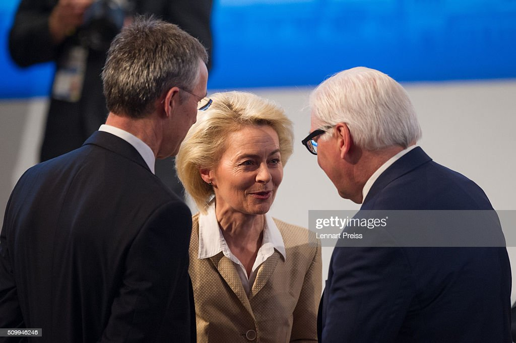 Jens Stoltenberg, Secretary General of NATO, German Defense Minister Ursula von der Leyen and German Minister of Foreign Affairs, Frank-Walter Steinmeier talk to each other at the 2016 Munich Security Conference at the Bayerischer Hof hotel on February 13, 2016 in Munich, Germany. The annual event brings together government representatives and security experts from across the globe and this year the conflict in Syria will be the main issue under discussion.