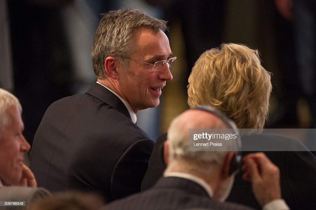 <a gi-track='captionPersonalityLinkClicked' href=/galleries/search?phrase=Jens+Stoltenberg&family=editorial&specificpeople=558620 ng-click='$event.stopPropagation()'>Jens Stoltenberg</a>, Secretary General of NATO, looks on at the 2016 Munich Security Conference at the Bayerischer Hof hotel on February 12, 2016 in Munich, Germany. The annual event brings together government representatives and security experts from across the globe and this year the conflict in Syria will be the main issue under discussion.