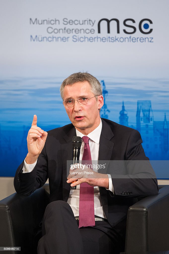 Jens Stoltenberg, Secretary General of NATO speaks at the 2016 Munich Security Conference at the Bayerischer Hof hotel on February 13, 2016 in Munich, Germany. The annual event brings together government representatives and security experts from across the globe and this year the conflict in Syria will be the main issue under discussion.