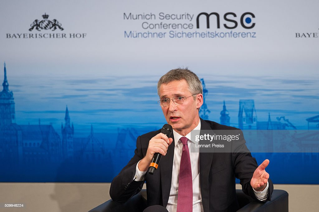 <a gi-track='captionPersonalityLinkClicked' href=/galleries/search?phrase=Jens+Stoltenberg&family=editorial&specificpeople=558620 ng-click='$event.stopPropagation()'>Jens Stoltenberg</a>, Secretary General of NATO speaks at the 2016 Munich Security Conference at the Bayerischer Hof hotel on February 13, 2016 in Munich, Germany. The annual event brings together government representatives and security experts from across the globe and this year the conflict in Syria will be the main issue under discussion.