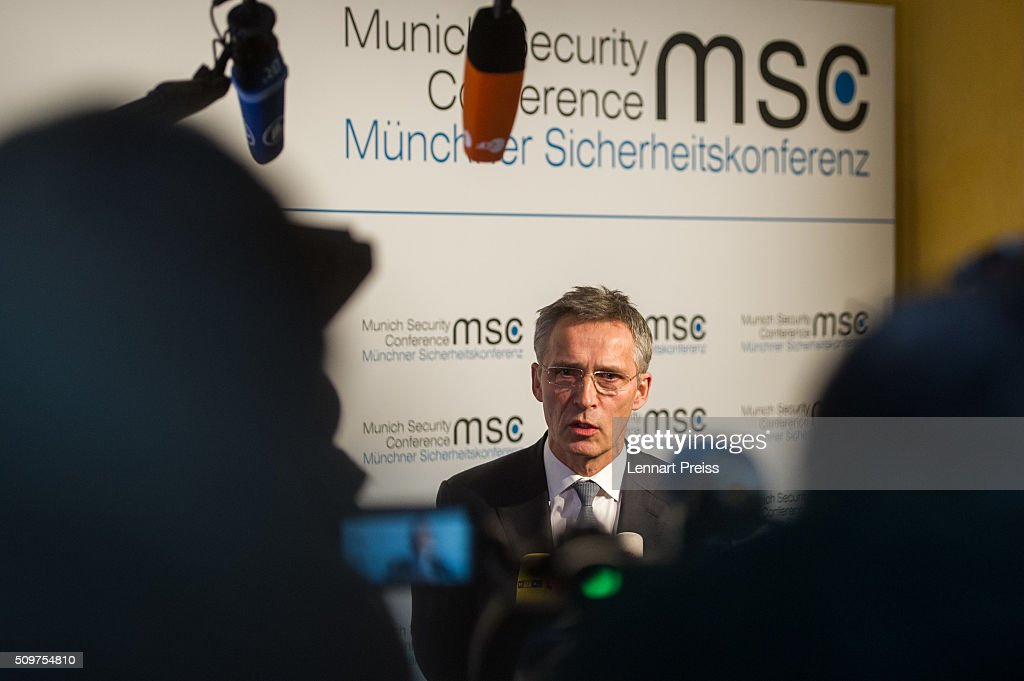 <a gi-track='captionPersonalityLinkClicked' href=/galleries/search?phrase=Jens+Stoltenberg&family=editorial&specificpeople=558620 ng-click='$event.stopPropagation()'>Jens Stoltenberg</a>, Secretary General of NATO, talks to the press at the 2016 Munich Security Conference at the Bayerischer Hof hotel on February 12, 2016 in Munich, Germany. The annual event brings together government representatives and security experts from across the globe and this year the conflict in Syria will be the main issue under discussion.
