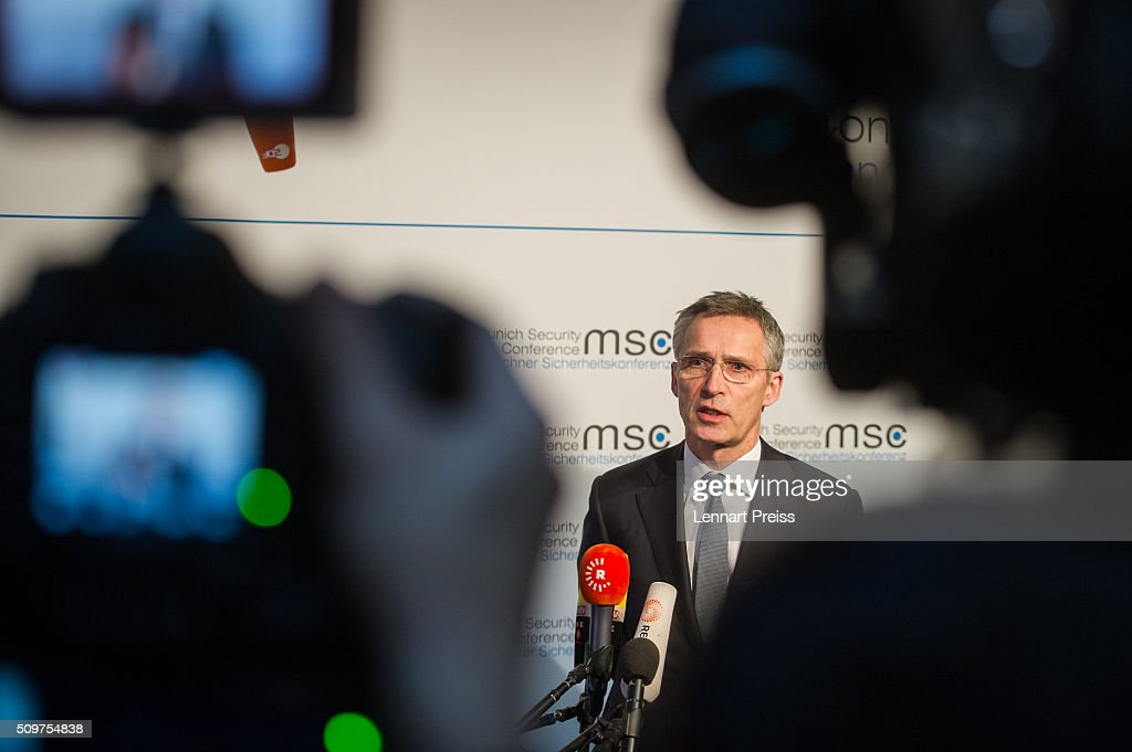 Jens Stoltenberg, Secretary General of NATO, talks to the press at the 2016 Munich Security Conference at the Bayerischer Hof hotel on February 12, 2016 in Munich, Germany. The annual event brings together government representatives and security experts from across the globe and this year the conflict in Syria will be the main issue under discussion.