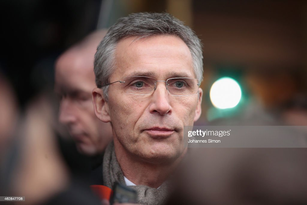 <a gi-track='captionPersonalityLinkClicked' href=/galleries/search?phrase=Jens+Stoltenberg&family=editorial&specificpeople=558620 ng-click='$event.stopPropagation()'>Jens Stoltenberg</a>, secretary general of the NATO (North Atlantic Treaty Organization) addresses the media upon their arrival at the 51st Munich Security Conference (MSC) on February 6, 2015 in Munich, Germany. Foreign ministers and defense ministers from countries across the globe are meeting to discuss current global security issues, in particular the crisis in eastern Ukraine, the spread of ISIS in Syria and Iraq and the large-scale movement and plight of refugees.