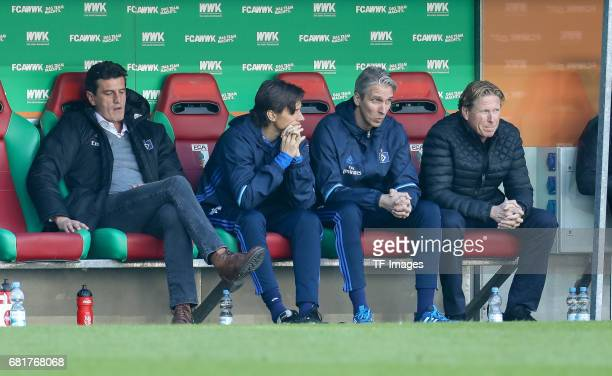 Jens Todt of Hamburg Head coach Markus Gisdol of Hamburg looks dejected during the Bundesliga match between FC Augsburg and Hamburger SV at WWK Arena...