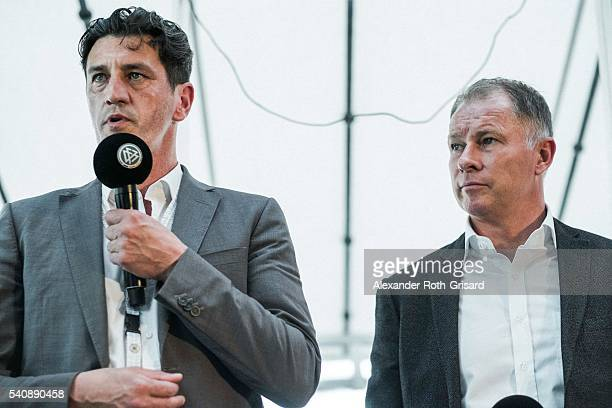Jens Todt speaks next to Stefan Reuter during the European Champions of 1996 meeting at ORestaurant on June 16 2016 in Paris France