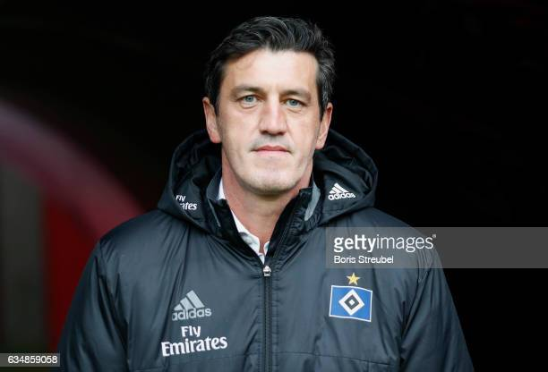Jens Todt sport director of Hamburger SV looks on prior to the Bundesliga match between RB Leipzig and Hamburger SV at Red Bull Arena on February 11...