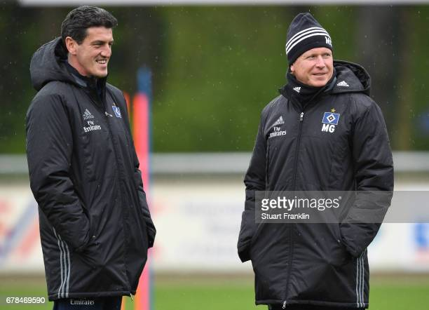 Jens Todt sports director of Hamburger SV and Markus Gisdol Head coach look on during a training session of Hamburger SV on May 4 2017 in Rotenburg...