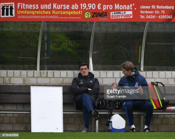 Jens Todt sports director of Hamburger SV looks on during a training session of Hamburger SV on May 4 2017 in Rotenburg an der Wuemme Germany