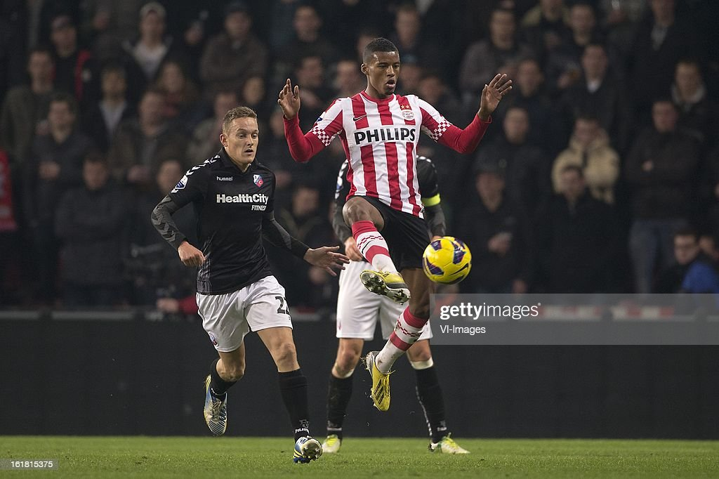 Jens Toornstra of FC Utrecht, Georginio Wijnaldum of PSV during the Dutch Eredivisie match between PSV Eindhoven and FC Utrecht at the Philips Stadium on february 16, 2013 in Eindhoven, The Netherlands