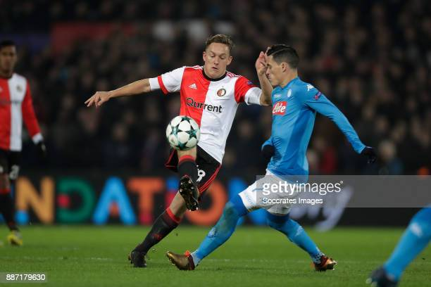 Jens Toornstra of Feyenoord Jose Callejon of Napoli during the UEFA Champions League match between Feyenoord v Napoli at the Feyenoord Stadium on...